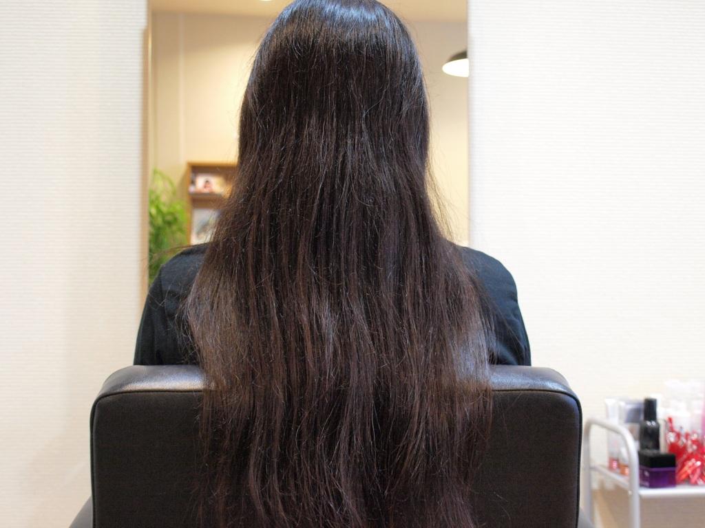 黒髪 ハナヘナ ビフォー